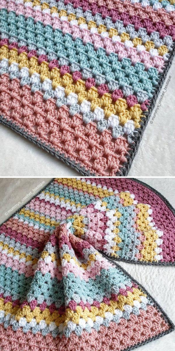 Granny Stripe Blanket by Mummys_Crochet_Boutique