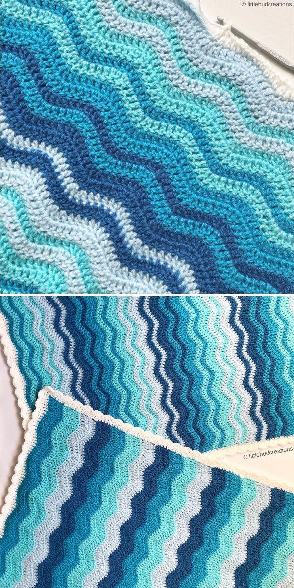 Ripple Stitch Blanket by Sam Hermes of littlebudcreations