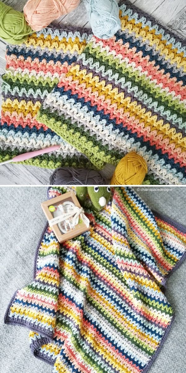 V-Stitch Blanket by Chainspacedesigns