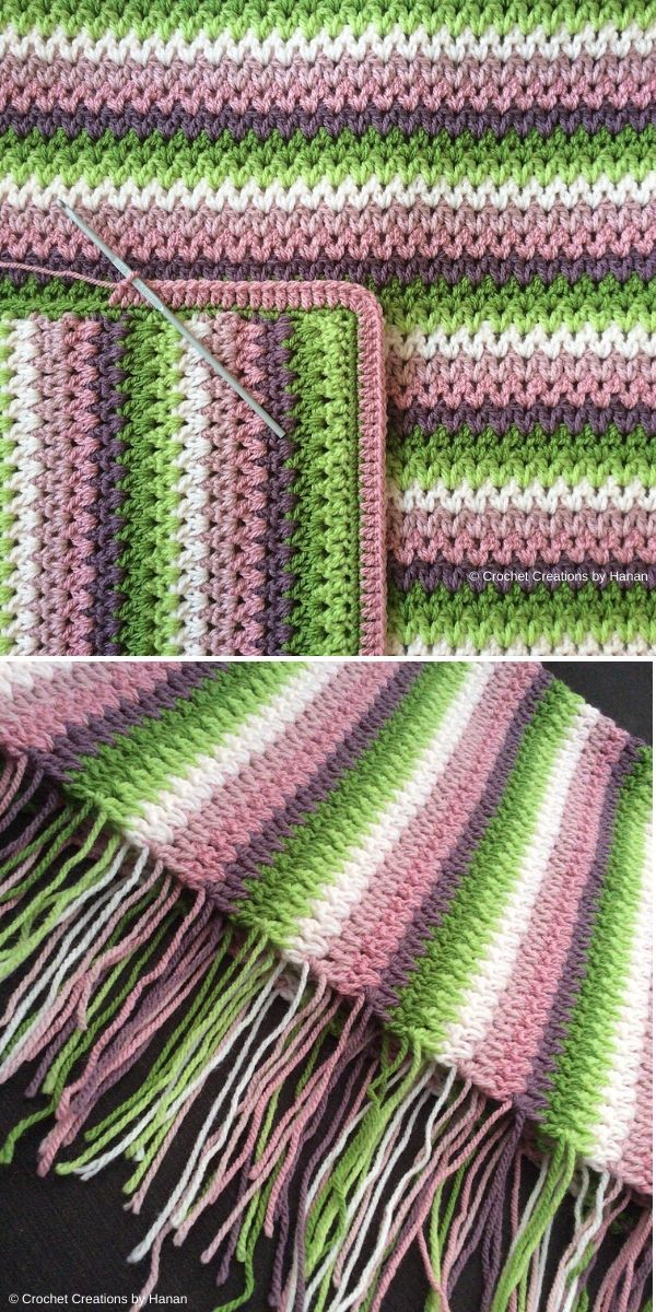 V-Stitch Blanket by Crochet Creations by Hanan