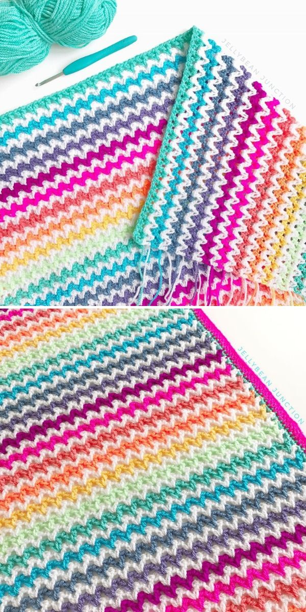 V-Stitch Blanket by Jellybean Junction