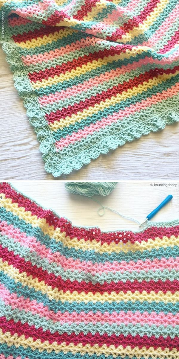 V-Stitch Blanket by Kountingsheeps