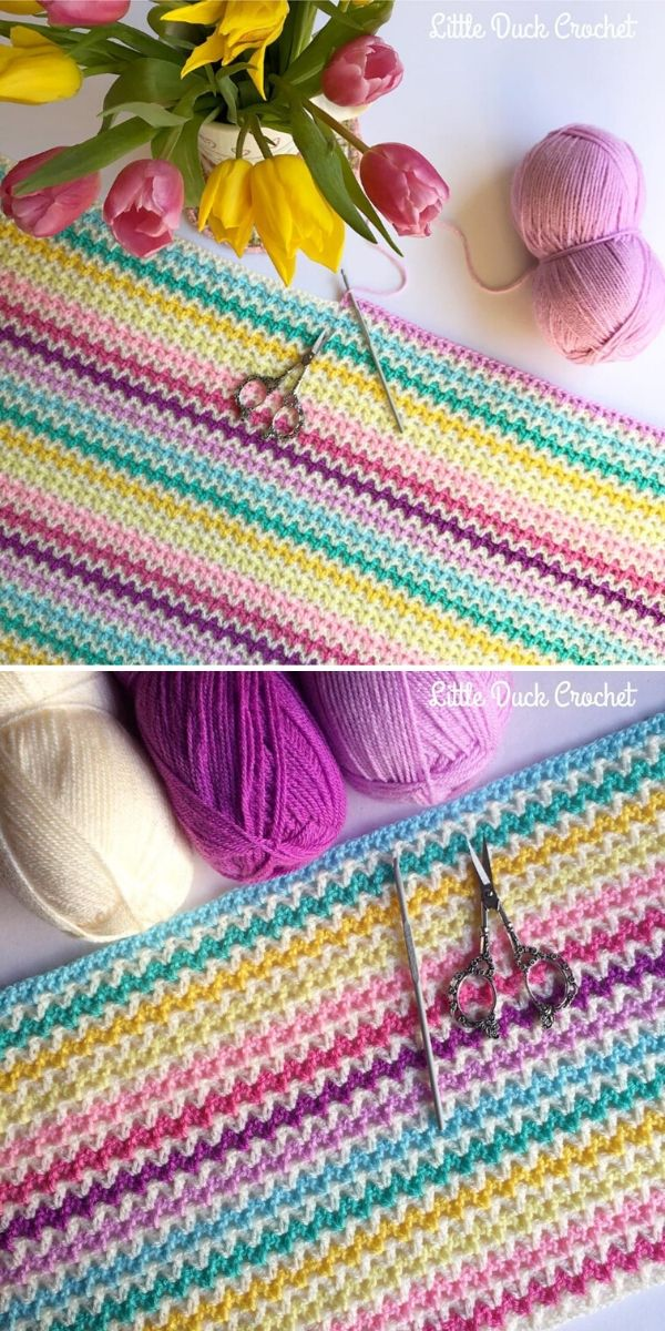 V-Stitch Blanket by Little Duck Crochet