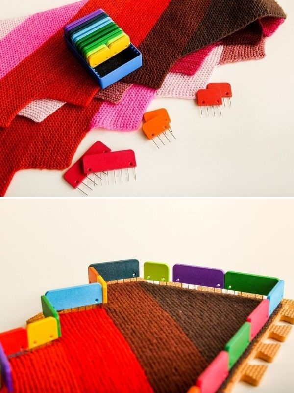colorful knit blockers pinned into the knitwear