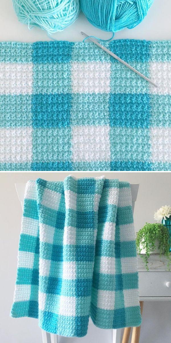 blue gingham blanket