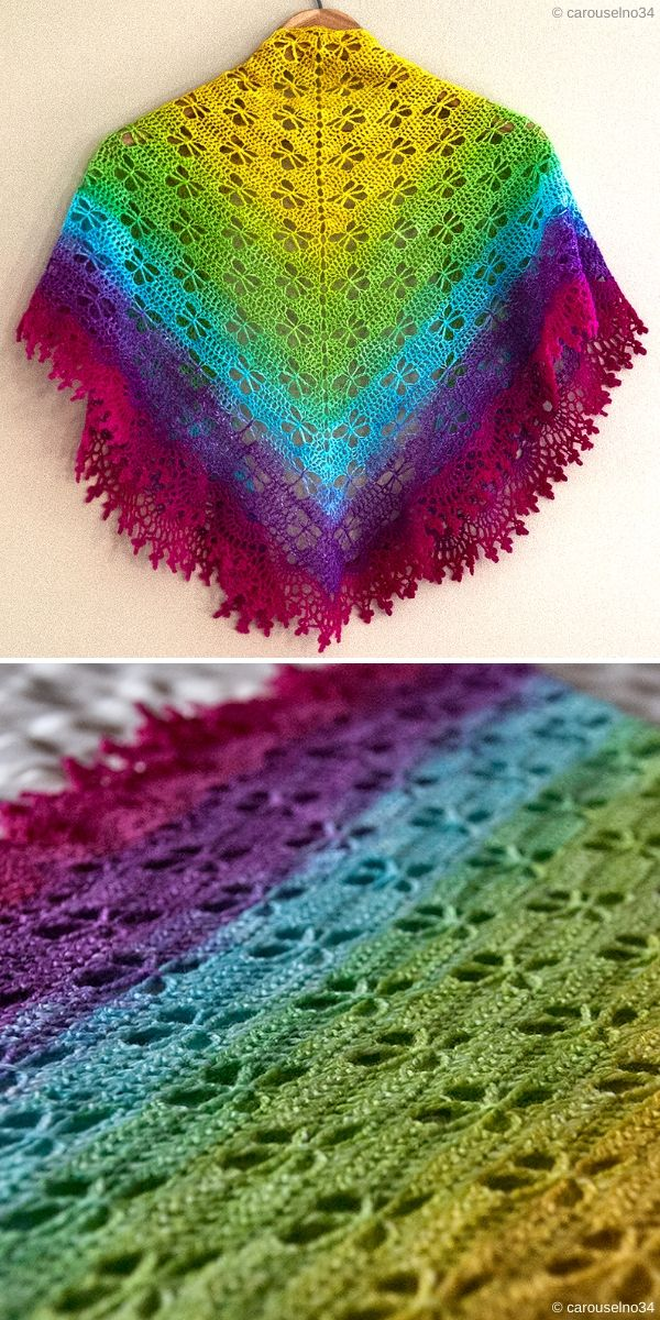 lacy crochet shawl with dragonfly motif
