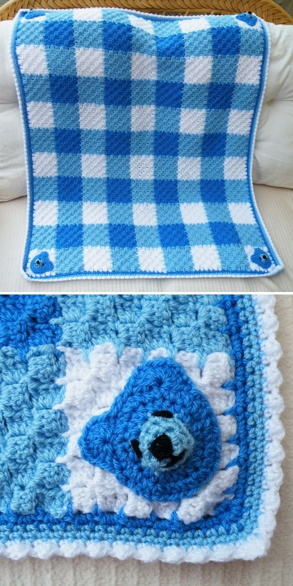 blue baby blanket with bear appliques