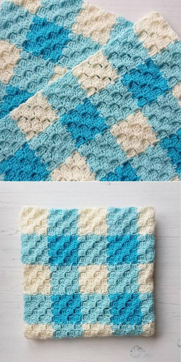 c2c blue gingham blanket
