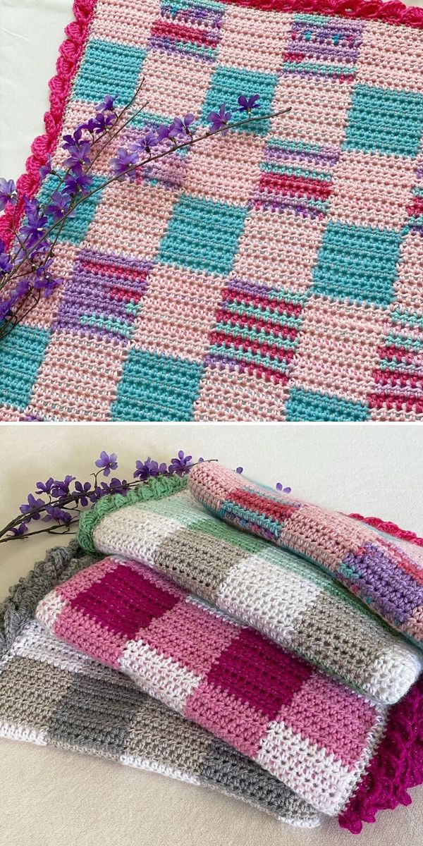 colorful gingham crochet blankets