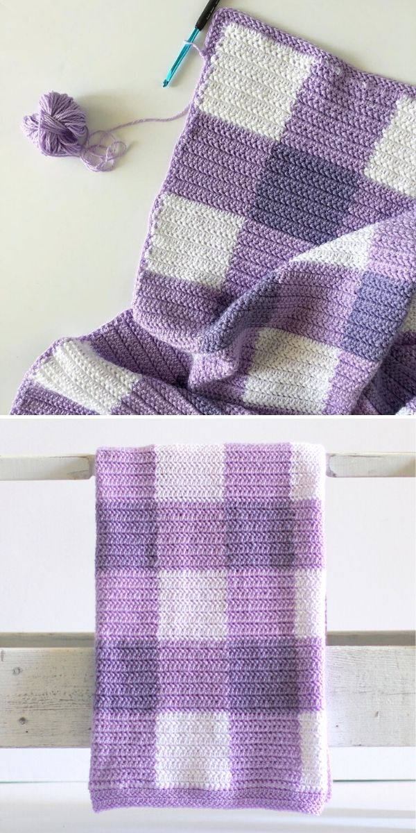 violet and white gingham crochet blanket
