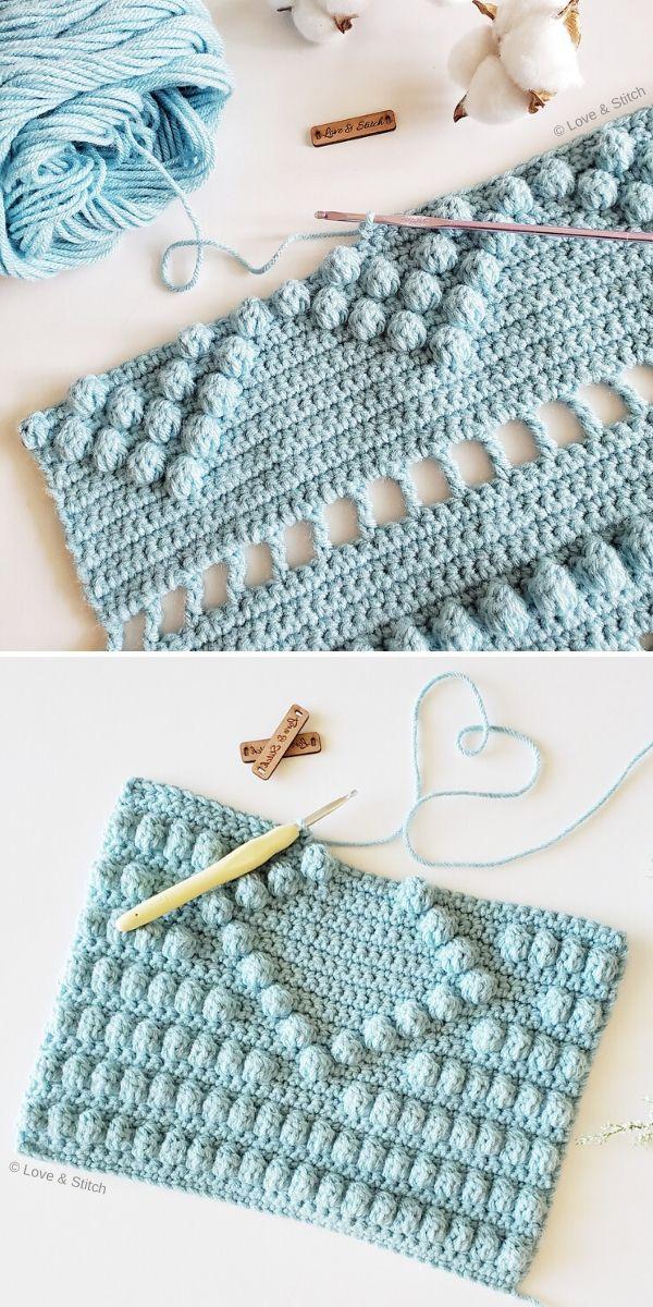 light blue crochet work