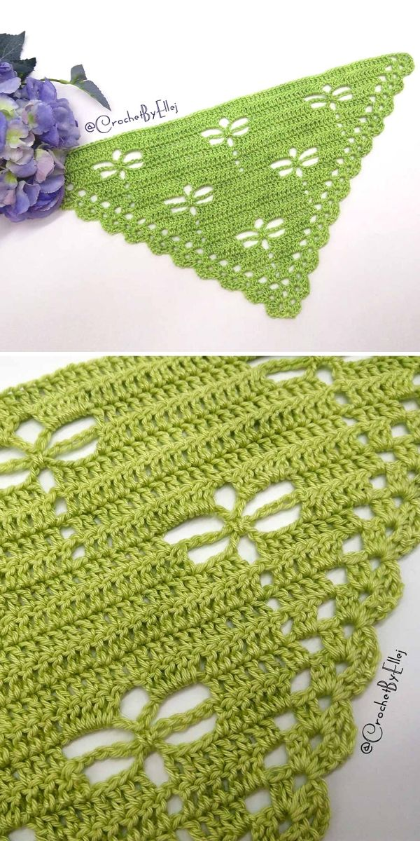 bright green crochet shawlette