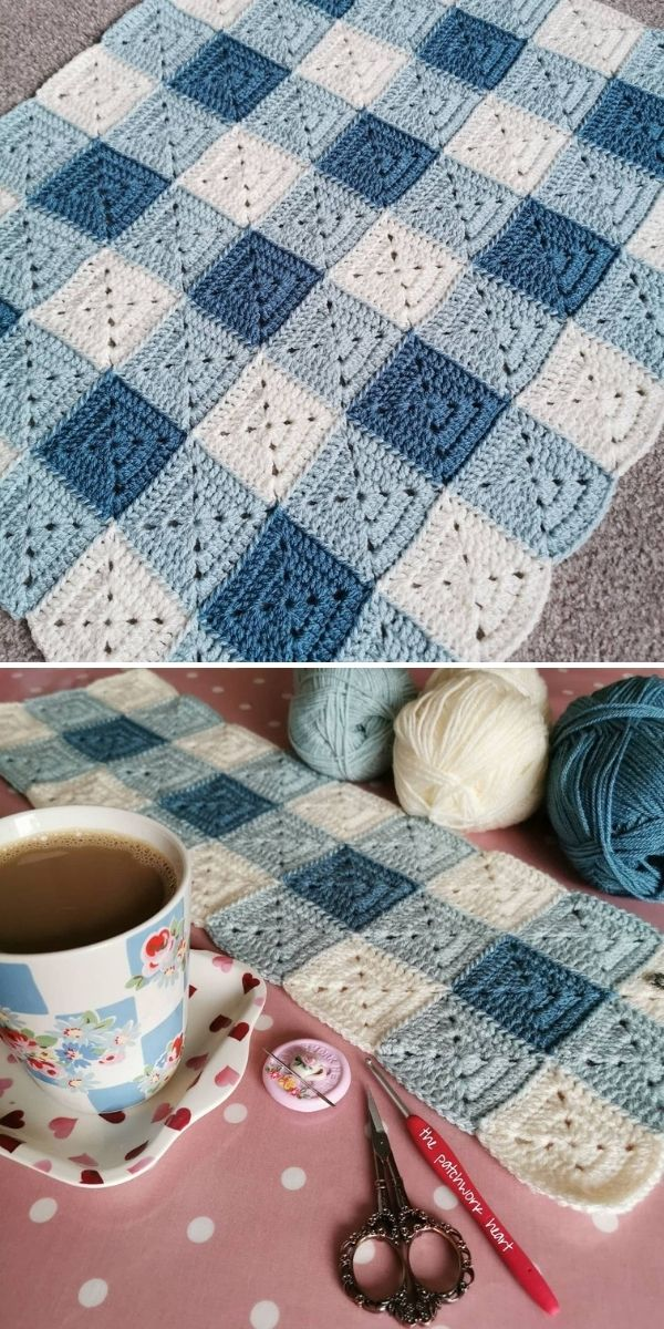 blue and white checked baby blanket