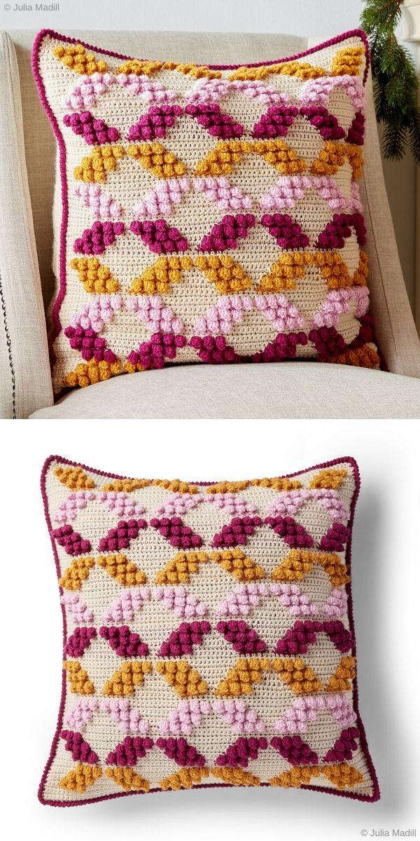 geometric pattern crochet pillow