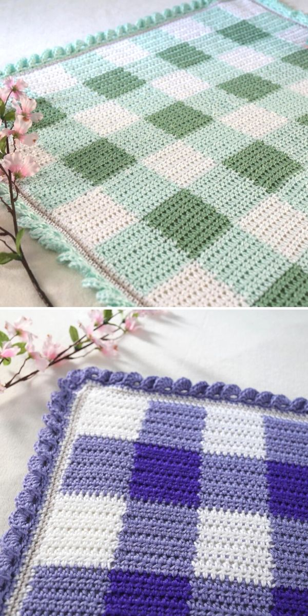 crochet gingham baby blankets in green and violet