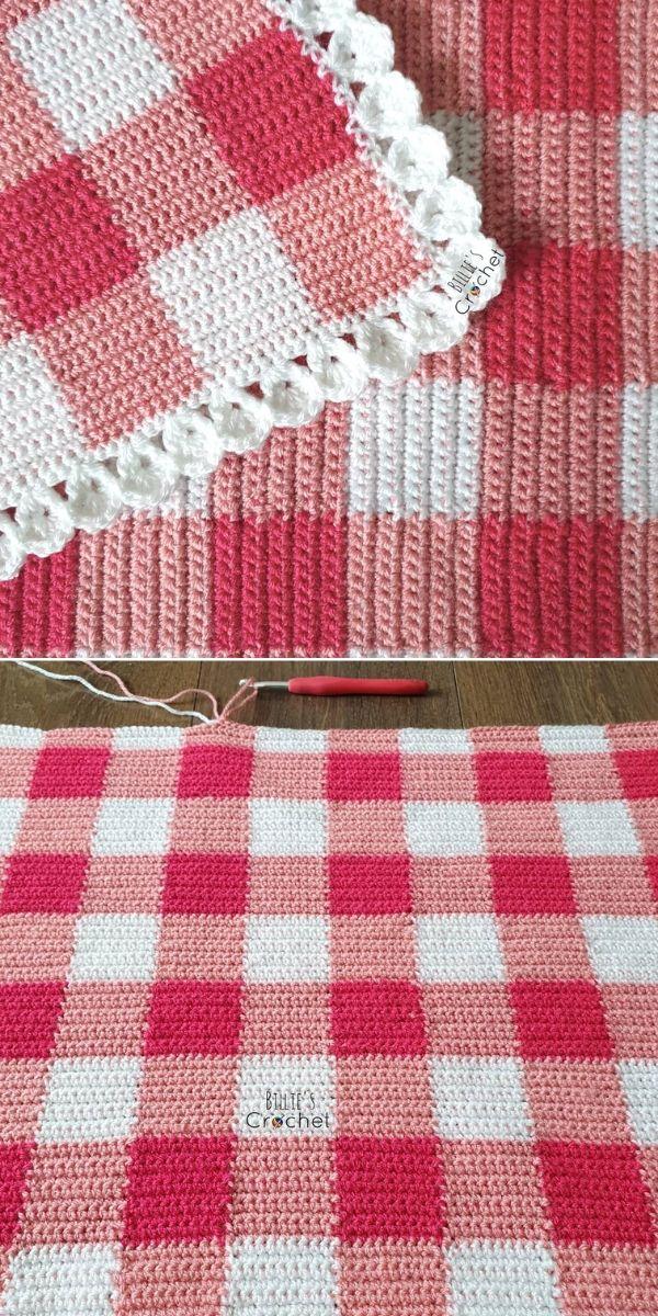 red and white crochet gingham blanket