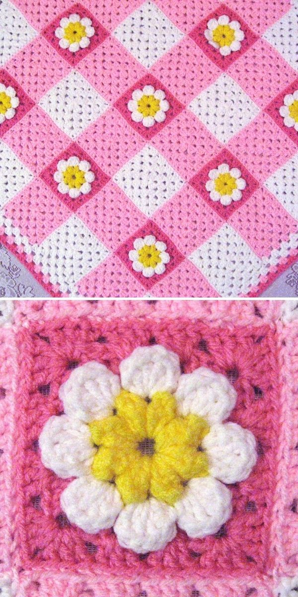 pink and white plaid blanket with flowers