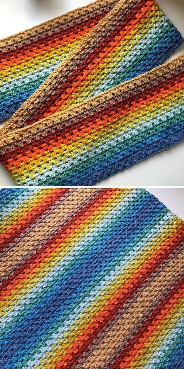 blue and brown granny blanket