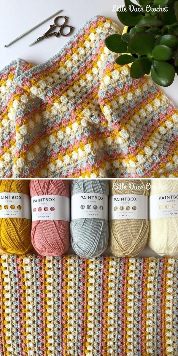 beige stripe crochet blanket