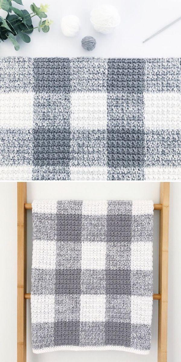 grey gingham blanket