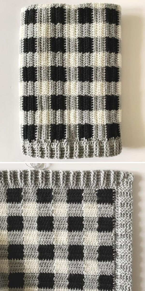 black and grey gingham blanket