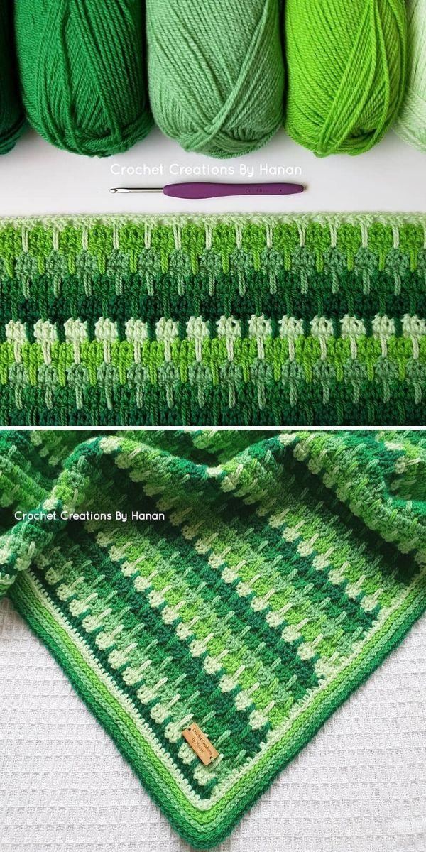 Larksfoot Stitch Blanket in green