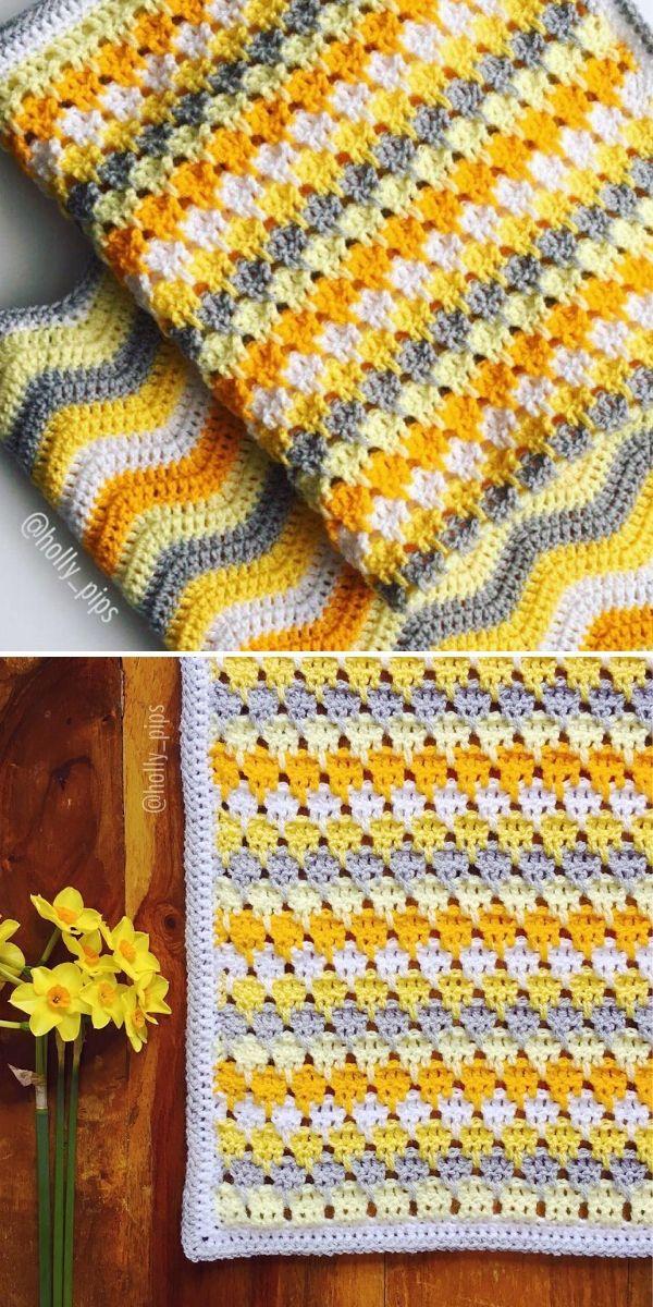 Larksfoot Stitch Blanket in yellow