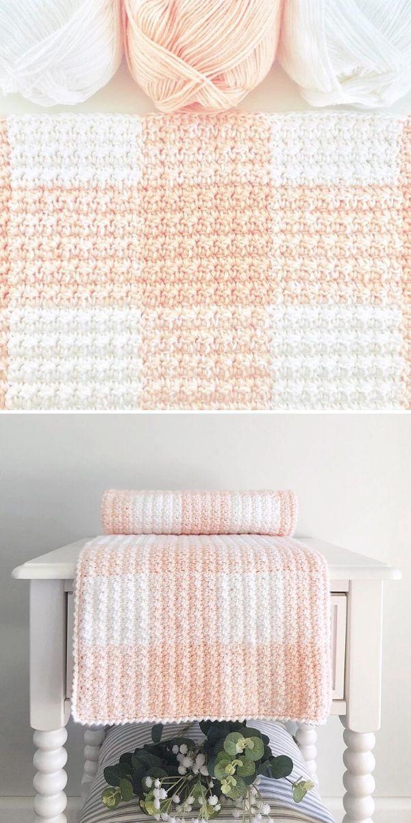 peach gingham blanket