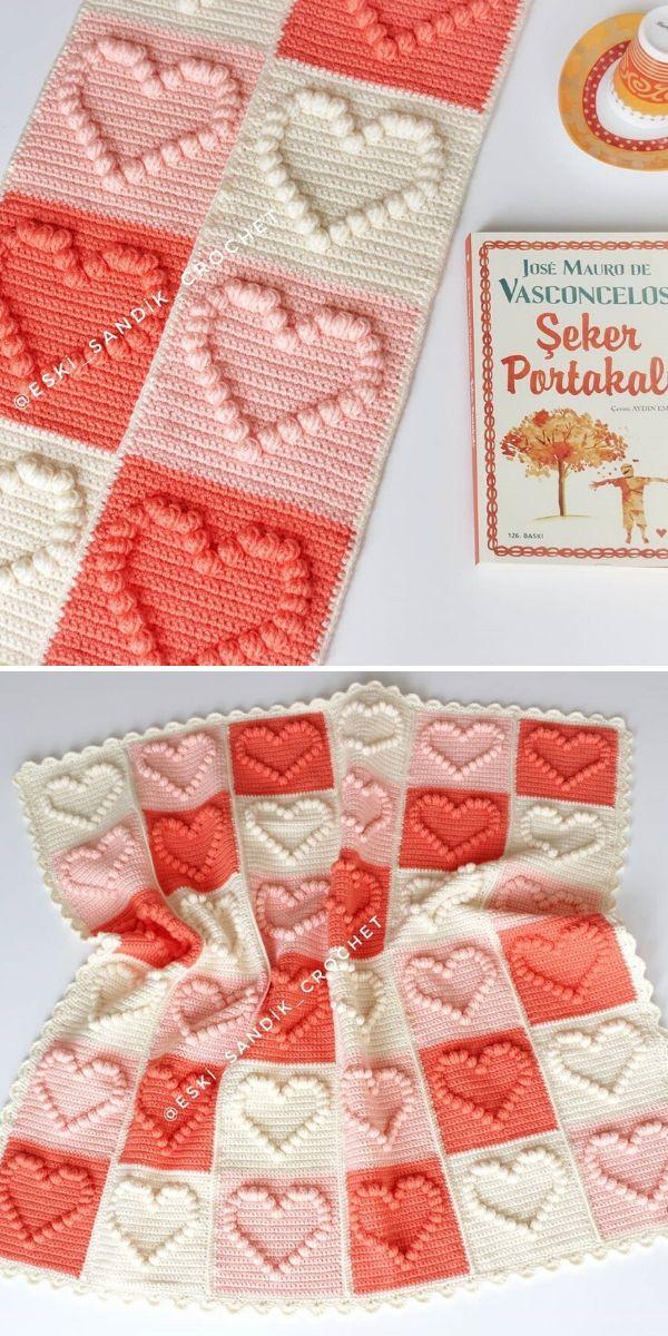 popcorn heart crochet blanket