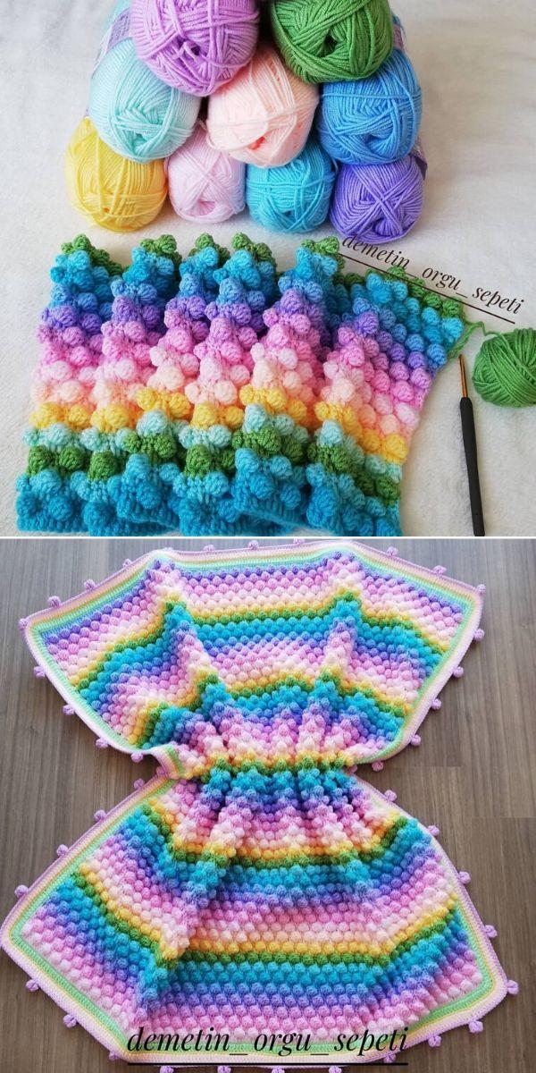 pastel crochet popcorn stitch blanket