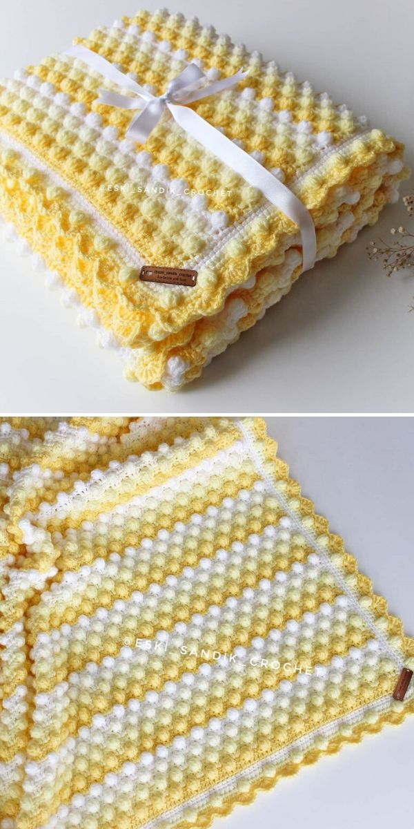 yellow crochet popcorn stitch blanket