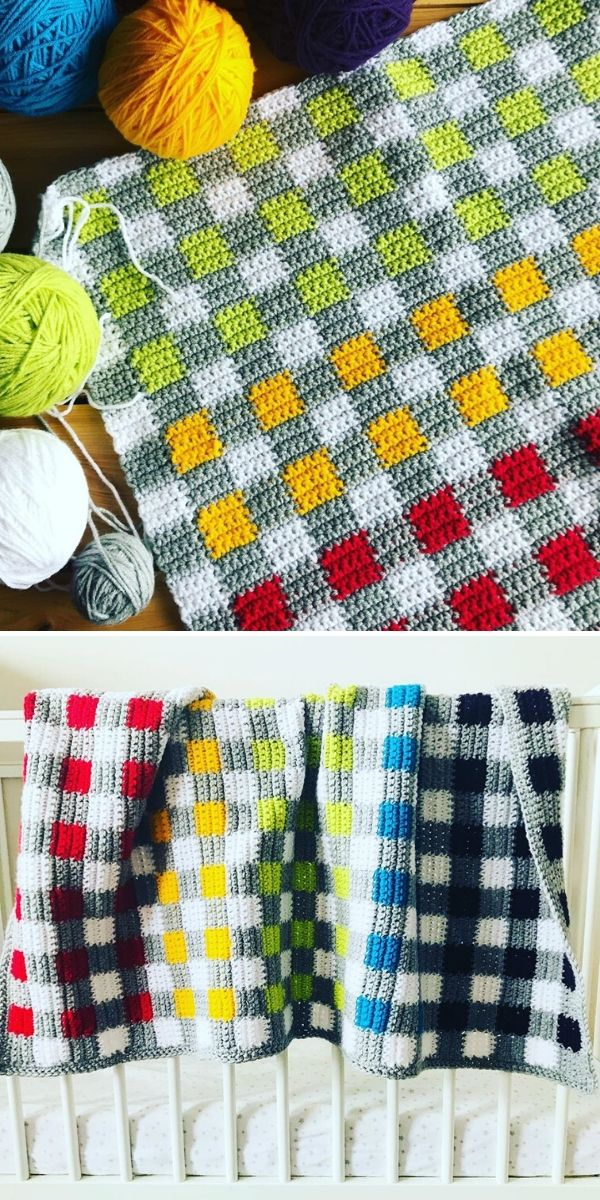 colorful gingham blanket