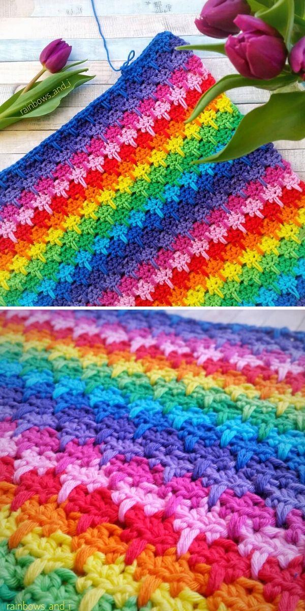 Rainbow Larksfoot Stitch Blanket