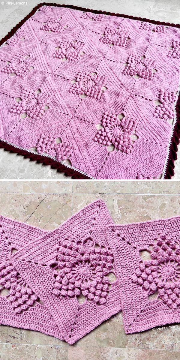 pink crochet blanket with popcorn stitch