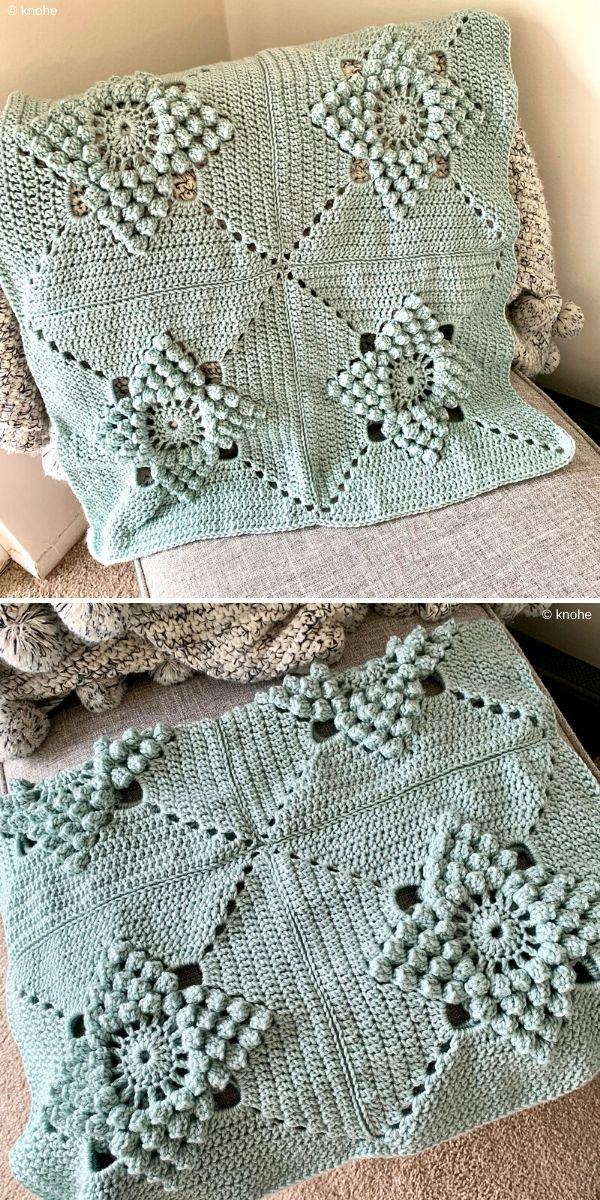 mint crochet blanket with popcorn stitch