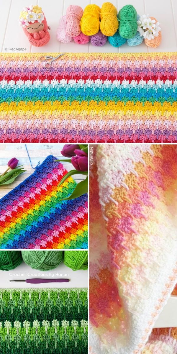 Colorful larksfoot stitch blankets