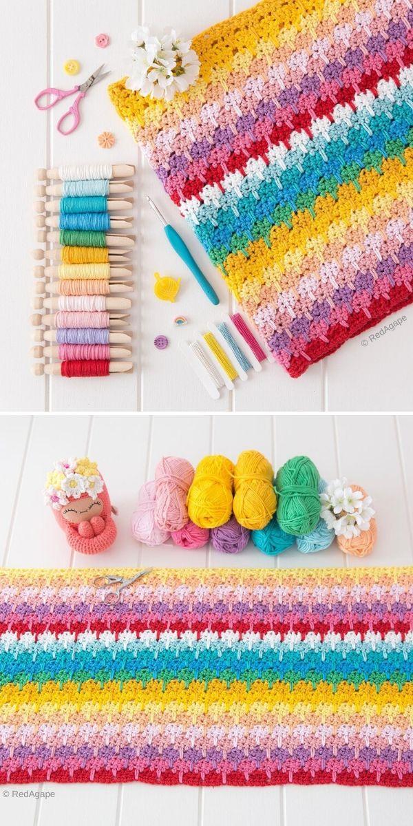 rainbow crochet blanket in larksfoot stitch