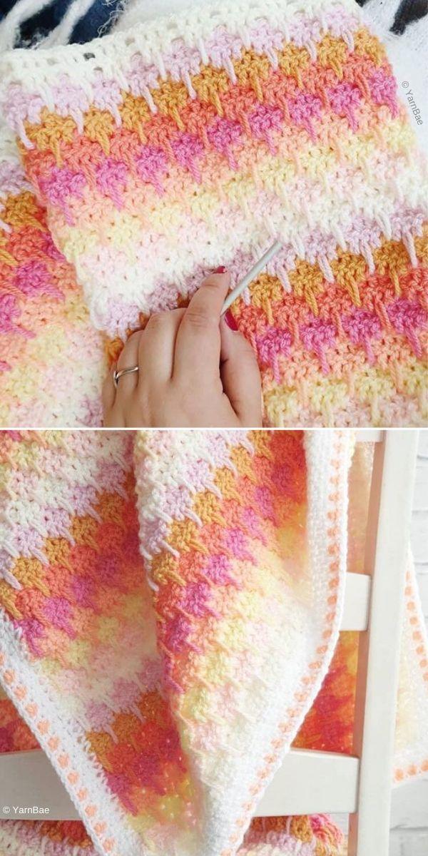larksfoot crochet blanket in rosy colors