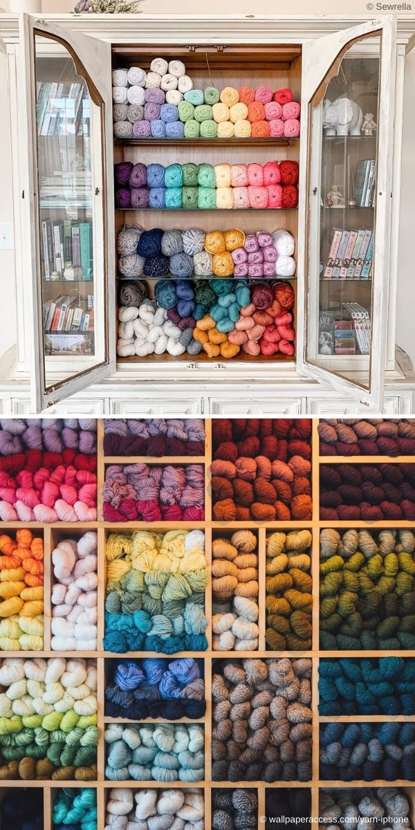 cabinets with colorful yarn skeins inside