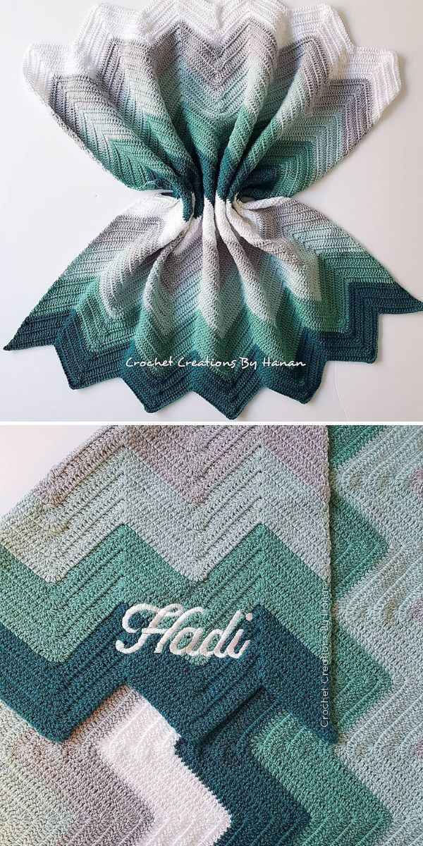 green and grey chevron blanket