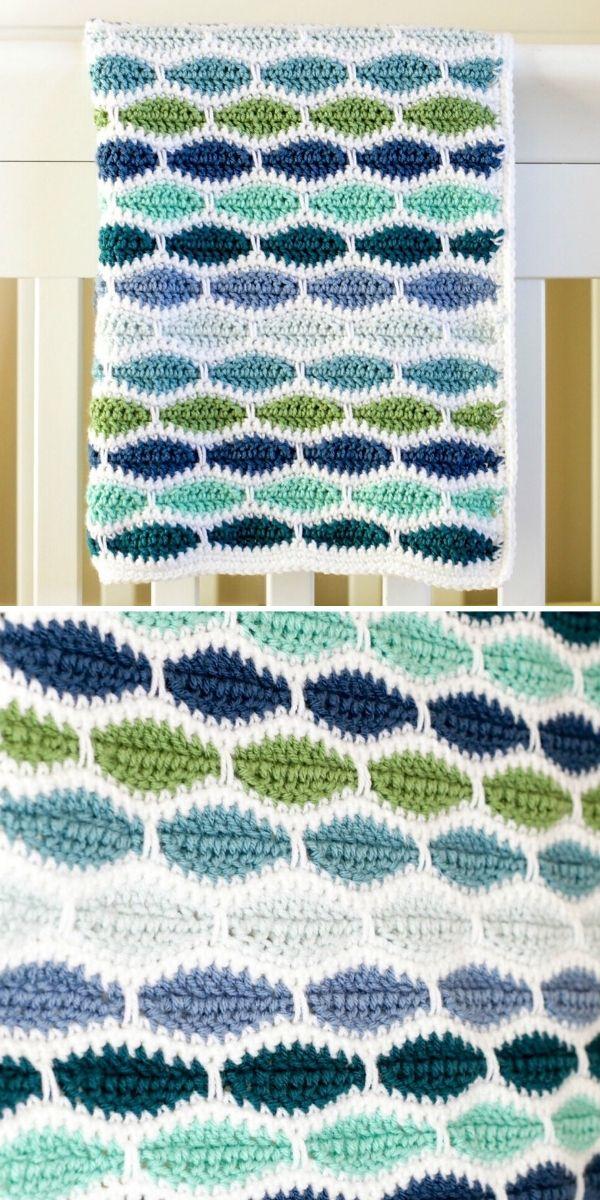 green and blue millstone stitch blanket