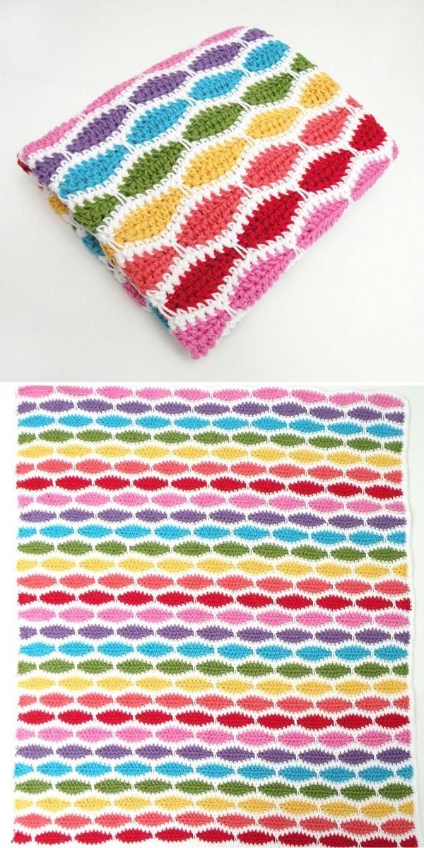 rainbow millstone stitch blanket