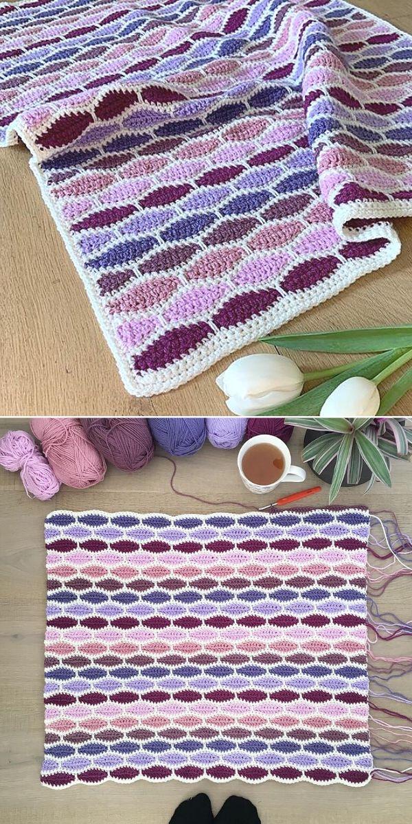 violet millstone stitch blanket