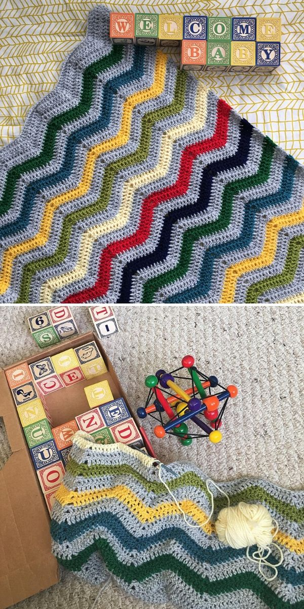 colorful chevron baby blanket