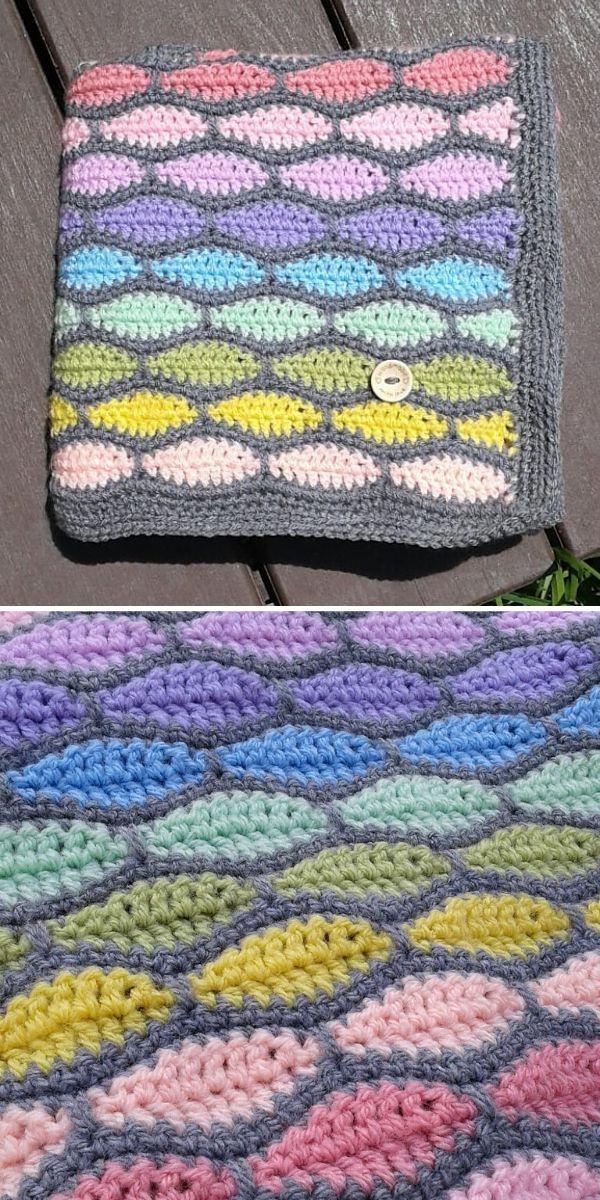 pastel millstone stitch blanket