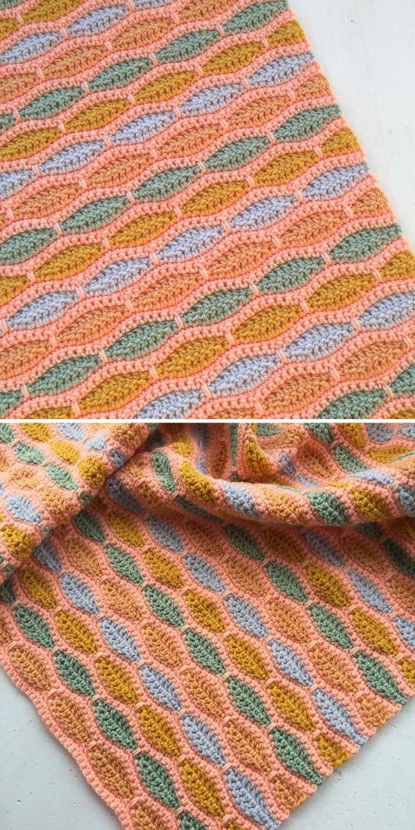 orange millstone stitch blanket
