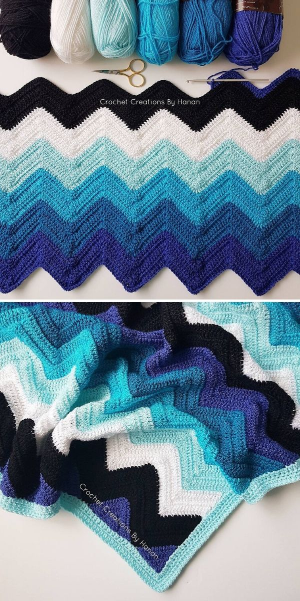 blue chevron blanket