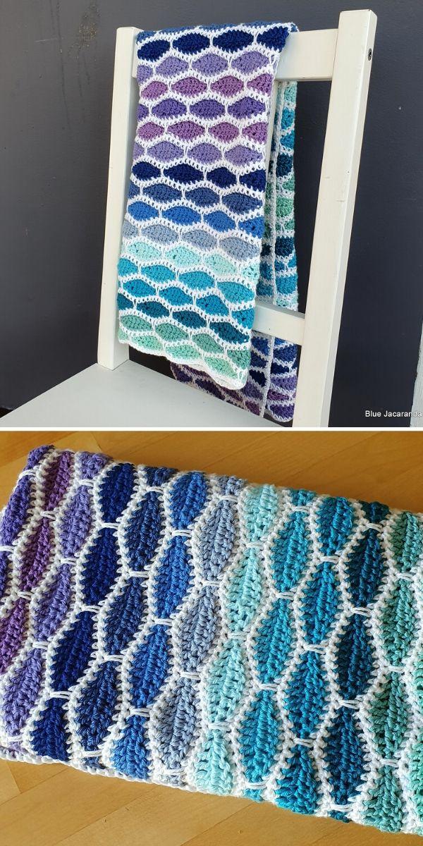 cool tones millstone stitch blanket