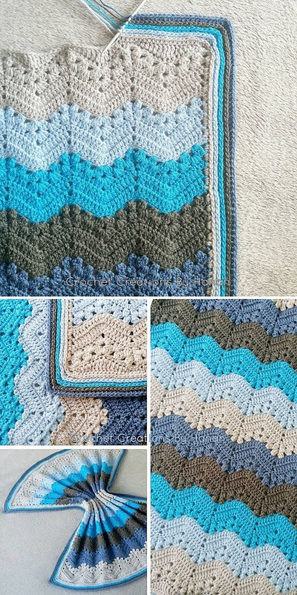 blue and beige 6-Day Kid Blanket