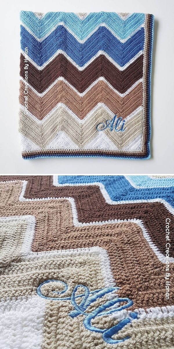 beige and blue chevron blanket